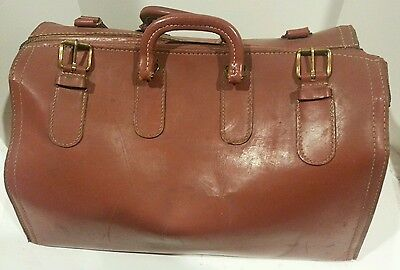 Vintage Cheney-England Brown Top-Grain Cowhide Leather Doctor Travel Bag-Lrg 18""