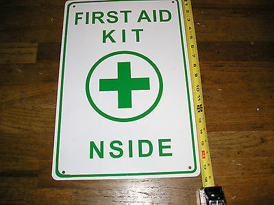 First Aid Metal Sign Green And White Miss Spelled