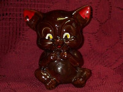 "Vintage Japan Mouse Bank Red Ware Redware figurine 5"" Tall Sitting no Cork Cute"