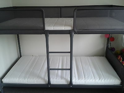 IKEA TUFFING Bunk Bed with 2 Moshult Firm Foam Mattresses Complete Package