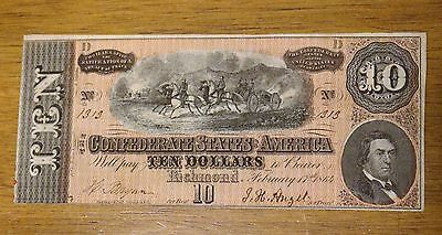 1864 Confederate $10 RICHMOND NOTE BEAUTIFUL XF/AU LOW SERIAL # 1313