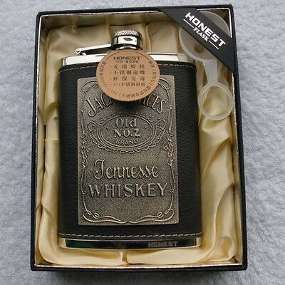 8oz Jack Daniels Leather Cover Liquor Alcohol Drink Hip Party Flask Gift Funnel