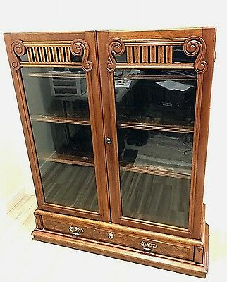 Antique Victorian Walnut Bookcase Bookshelf Cabinet c.1880-1900's