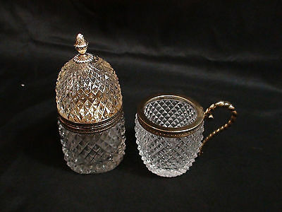 Art Deco French Hand Cut Crystal Gilded Brass Lighter & Cigarette Cup
