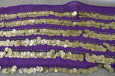 Purple Belly Dance Belt with Gold Coins - 445 gms