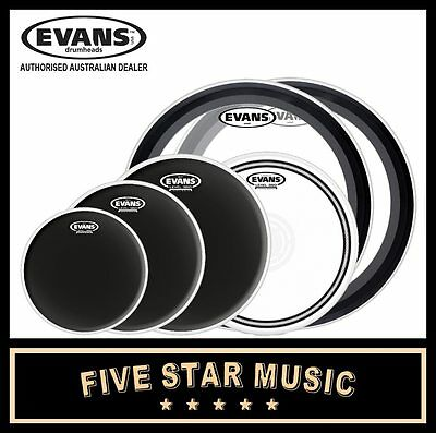 "EVANS ONYX + 2x 22"" EMAD 6 PCE DRUM SKIN SET 10"" 12"" 14"" 14"" R DOT 2x 22"" HEADS"