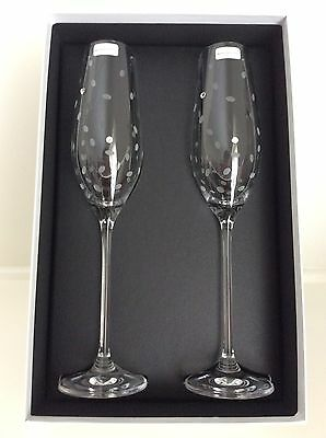 ROYAL DOULTON boxed pair CELEBRATION CRYSTAL CHAMPAGNE FLUTES with DIAMANTES