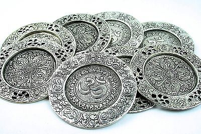 5 Plates X Mixed Metal Candle/Incense Holder Plate with Om Symbol