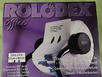 """Rolodex 66704 Black Rotary Card File Unused In Box 2.25"""" x 4"""" Cards"""