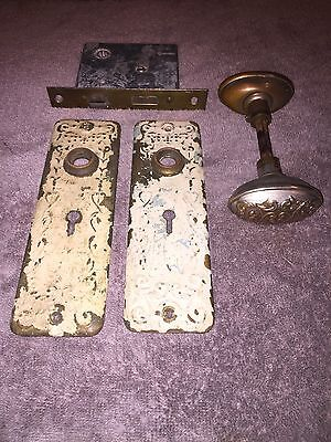 Antique Ornate Leaf COPPER BRASS Door Lock Knob & BackPlate Set 1800s 1900s