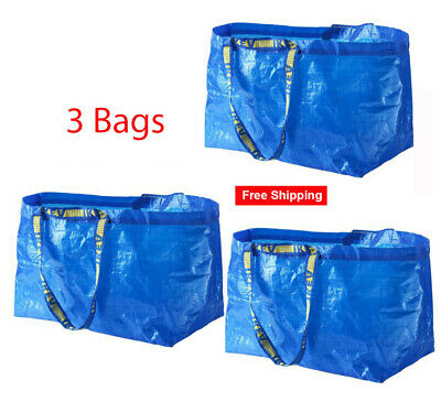 IKEA 3 Large Tote Bags Frakta Blue Reusable Shopping Laundry Storage Recycle