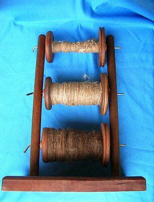 Vintage LAZY KATE HOLDER with 3 BOBBINS for Spinning Wheel includes old yarn.
