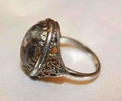 Alluring Vintage Czechoslovakian Foiled Cabochon Glass Ring RG