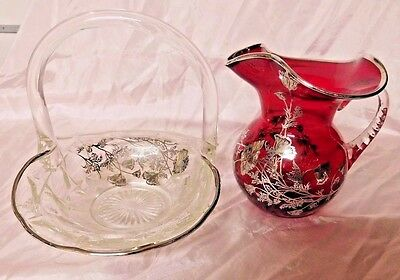 Vintage Silver Overlay, Crystal Clear Basket, Ruby Milk Pitcher, Mint Cond