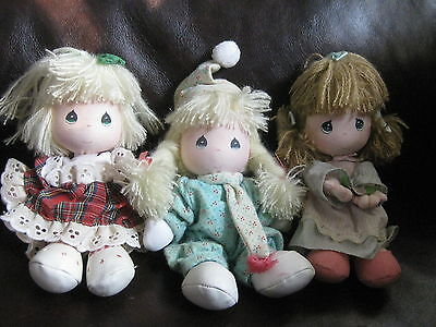 """3 Applause Precious Moments Plush Dolls Holiday, Winter 6"""" 1990"""
