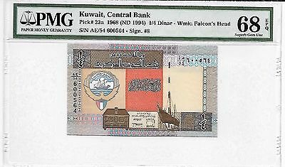 Kuwait Banknote, 1/4 Dinar 5th Issue 1994, Pick # 23a, PMG 68 EPQ
