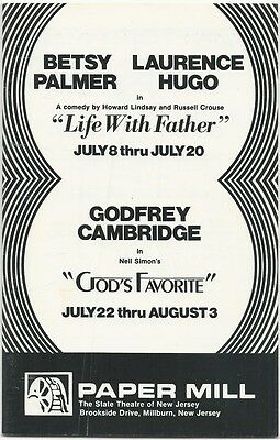 """PAPER MILL PLAYHOUSE """"LIFE WITH FATHER"""" & Godfry Cambridge """"GOD'S FAVORITE"""" NJ"""