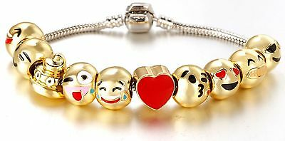 NEW Emoji Charm Bracelet 18K Yellow Gold Plated Beads 10 Charms, Ships From USA