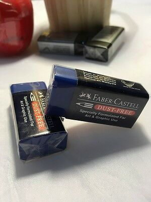2 Pcs Blue Faber Castell Rubber Eraser Pencil Art And Graphic Use Dust Free