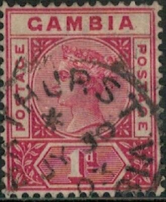 Lot 3700 - Gambia - 1886 1d red Queen Victoria used stamp