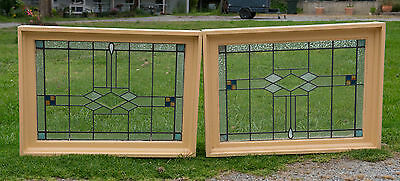 Pair stained glass leadlight windows