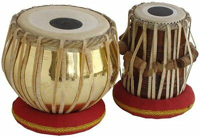 Sheesham Wood TB-0082 Hand Made Golden Brass Tabla Set Gold Color  By Dorpmarket
