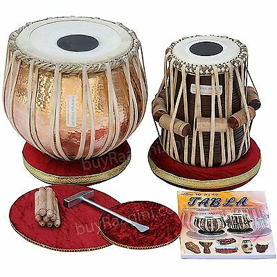 Tabla Drum Set, 5½ Kg Lacquer Polish Copper Bayan, Finest Dayan with Padded Bag,