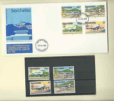 SEYCHELLES 1981 OFFICIAL FDC & MNH SET SC 456-59 10th ANNIVERSARY AIRPORT