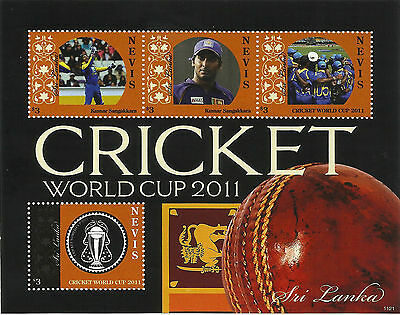 NEVIS 2011 ICC CRICKET WORLD CUP SRI LANKA TEAM KUMAR SANGAKKARA 4v Sheet MNH