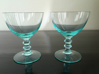 Pair of Pretty Vintage Turquoise Sundae Glasses With Bulbous Stems