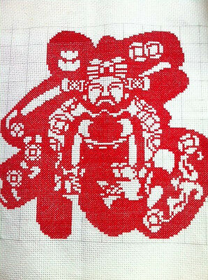 """Finished Completed Counted Cross Stitch God Of Wealth& Good Fortune """"福"""" word"""