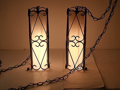Vintage Wrought Iron Hanging Lamp Fiberglass Shade   Gothic Spanish Revival