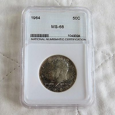 Usa 1964 Silver Half Dollar Slabbed And Graded By Nnc Ms68
