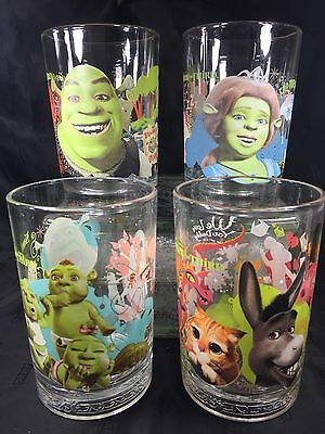 Collectible 2007 Complete Set of 5 MCDONALDS Glasses SHREK the THIRD Dreamworks