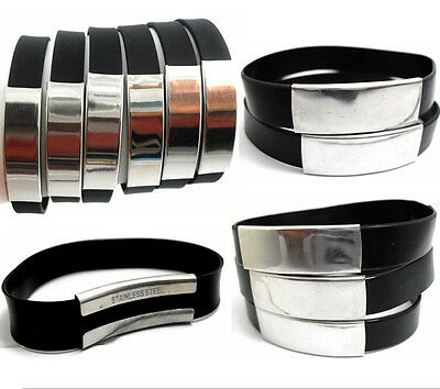 50x Simple Plain Stainless Steel Silicone Bracelets Wristbands Wholesale Bangles