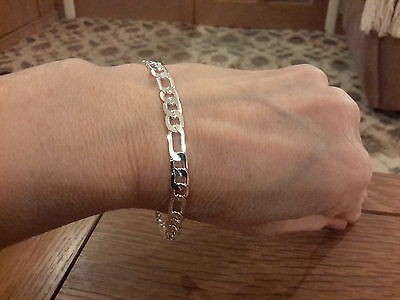 Brand new 925 stamped 6mm figaro  bracelet  with gift box