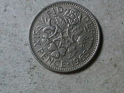 Sixpence. 6 pence Great Britain 1965 Wedding coin.Young Queen .