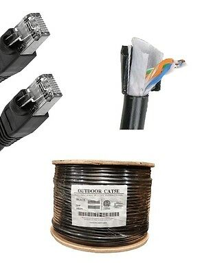 100'FT CAT5 OUTDOOR WATERPROOF ETHERNET CABLE CAT5e Direct Burial Internet RJ45