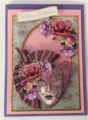 "Birthday card Handmade 3D  ""Masquerade in Lilac """