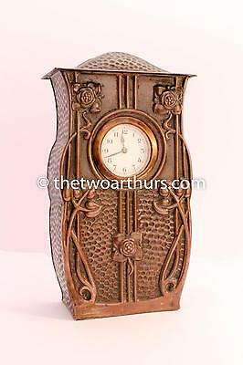 Large Hayle Copper Mantle Clock Antique Arts and Crafts Cornwall c.1910 25cm