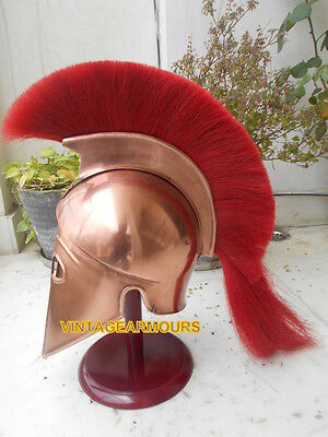 Roleplay Copper Antique Corinthian Red Plume Warrior Control Vintage Helmet