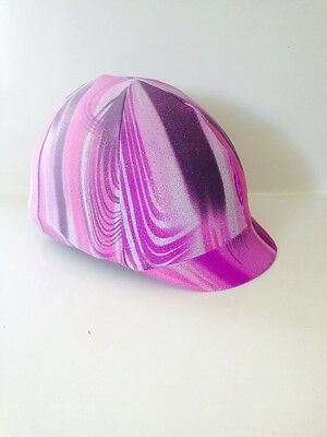 Horse Helmet Cover Purple With Pink Swirls Lycra AUSTRALIAN  MADE