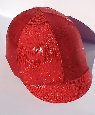 Horse Helmet Cover Red Sparkly Lycra AUSTRALIAN  MADE