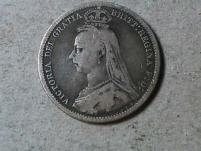 Sixpence. 6 pence Great Britain  Wedding coin. Queen Victoria 1889  silver