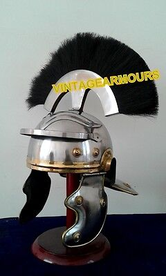"Vintage~""Roman Centurion Officer Helmet"" Armour_with black Plume_Reproduct"
