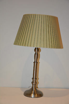 Freedom Table Lamp, silver base with pleated green shade