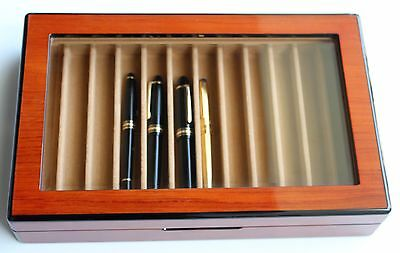 Collector's Case Box For 12 Montblanc Pelikan Etc. Fountain Pens Wood Glass Top
