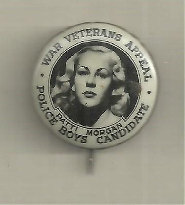 Police Boys Club Candidate War Veterans Appeal Tin Badge Patti Morgan