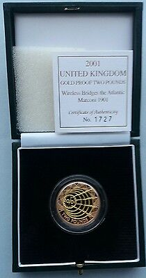 2001 £2 Gold Proof Double Sovereign Marconi Wireless Centenary