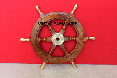 Nautical ~ Wooden Ship Wheel ~Brass Ring Centred~ Pirate Captain ~ Decor 18""